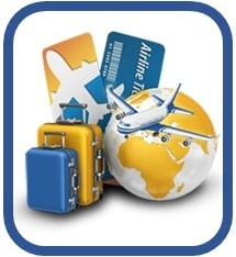 Illustration showing a globe, plane, luggage, and passports