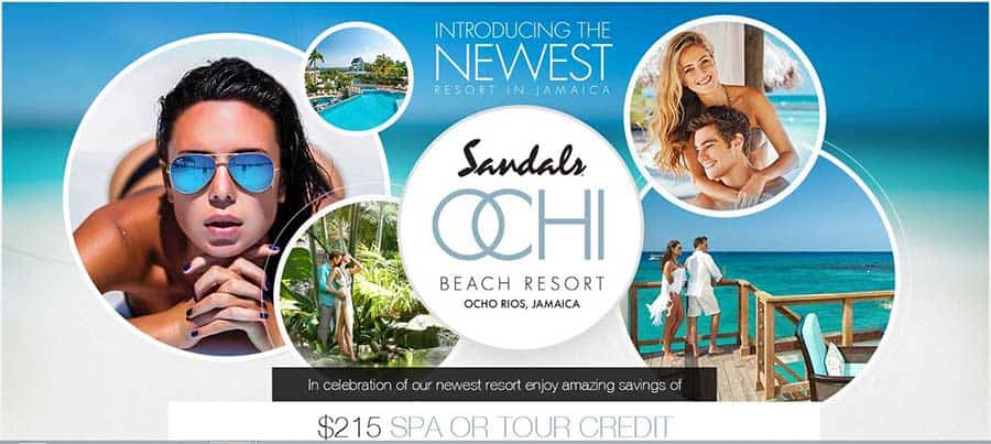 In celebration of our newest Sandals resort, Ochi, enjoy amazing savings of $215 Spa or Tour Credit