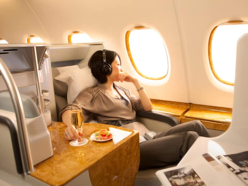 A woman on a luxurious first-class flight