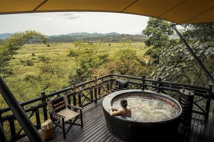 Four Seasons tented camp Jacuzzi