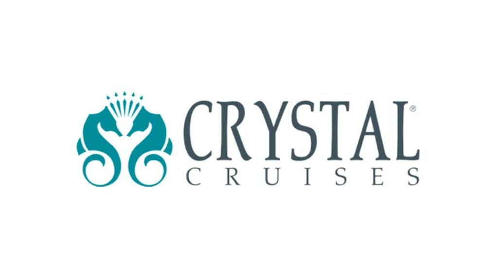2 mirrored seahorses create the Crystal Cruises logo