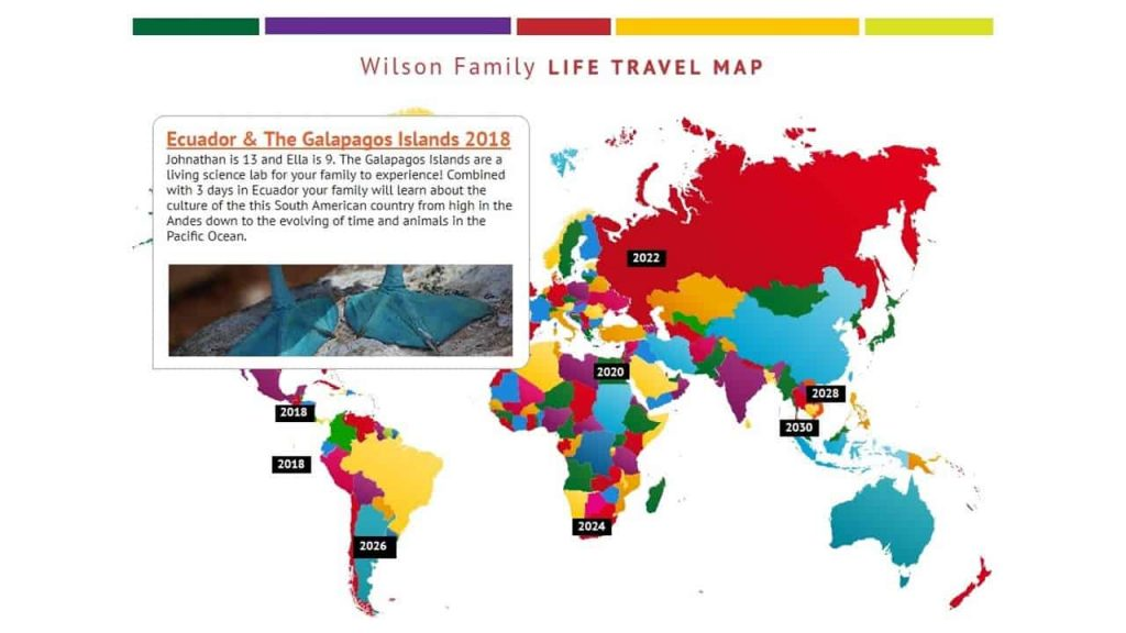 The Wilson Family Life Travel Map