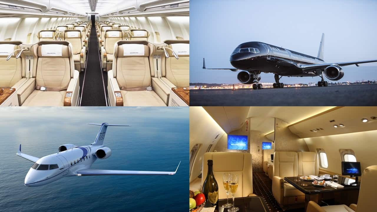 A collage showing the interiors and exteriors of private jets
