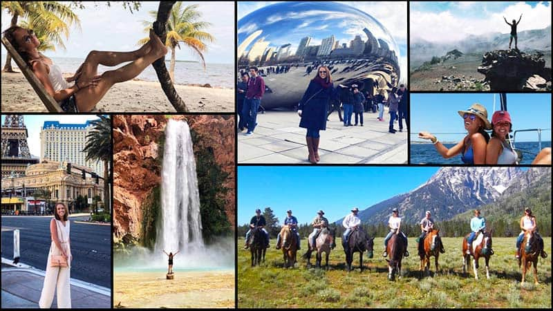 A collage showing Bailie White at various travel destinations