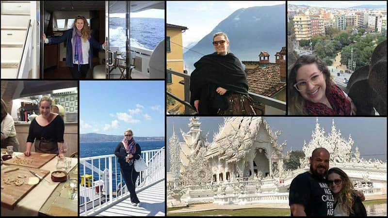 A collage showing Pamela Strauss at various travel destinations