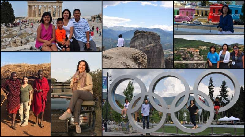 A photo montage depicts Travel Advisor Jessica Oballo on various travel adventures.