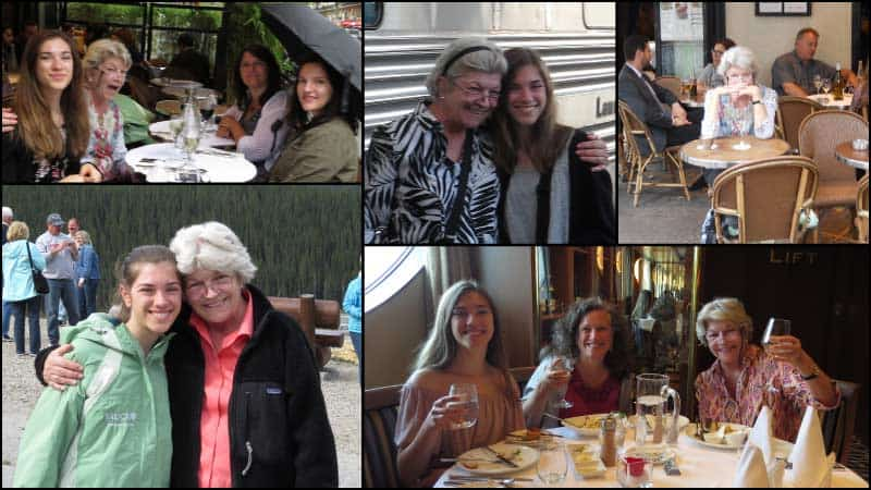 A photomontage depicts travel advisor Cissy Swearingen on various travel adventures.