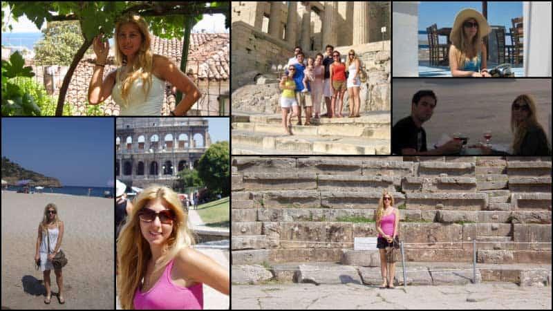 A collage depicts travel advisor Vicki Scott on various travel adventures.