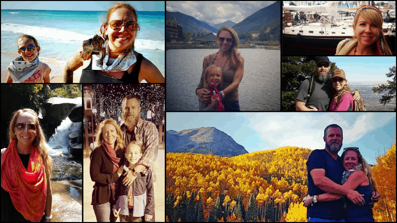 A collage depicts travel advisor Allison Tolbert on various travel adventures.