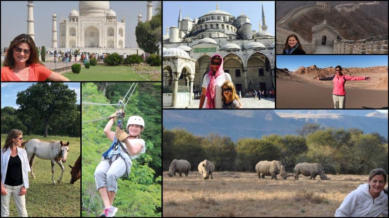 A collage shows Kristen Henley on various travel adventures.