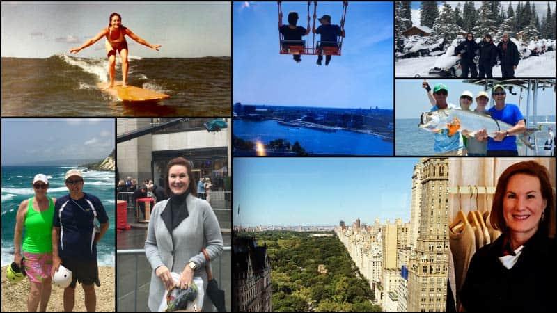 A collage depicts travel advisor Miranda Darr on various travel adventures.