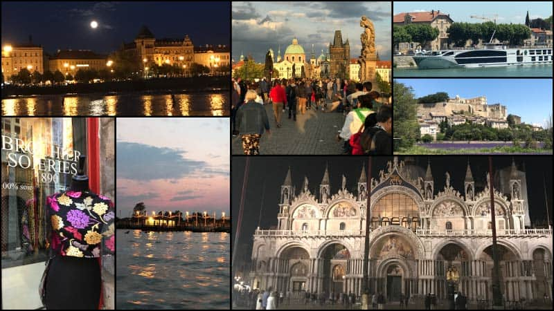A collage of various travel destinations Susan Rondini has visited.