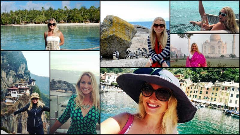 A collage depicts Caroline Fridley on various travel adventures.